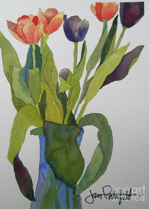 Tulip Greeting Card featuring the painting Tulips In Blue Vase by Jeff Friedman