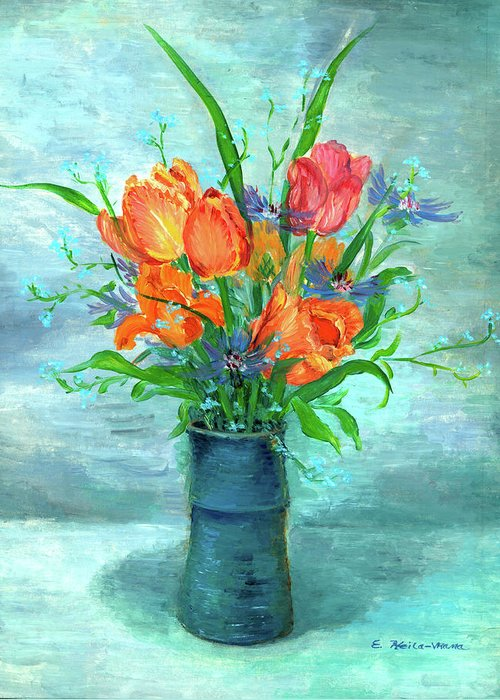 Tulips. Flowers Greeting Card featuring the painting Tulips In Bluevase by Ethel Vrana