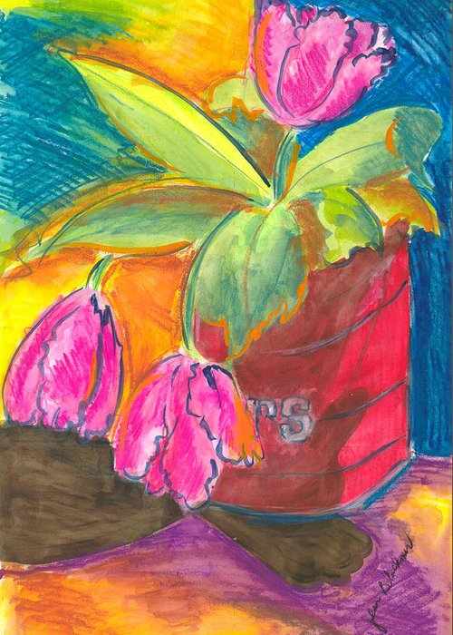 Flowers Greeting Card featuring the painting Tulips In Can by Jean Blackmer