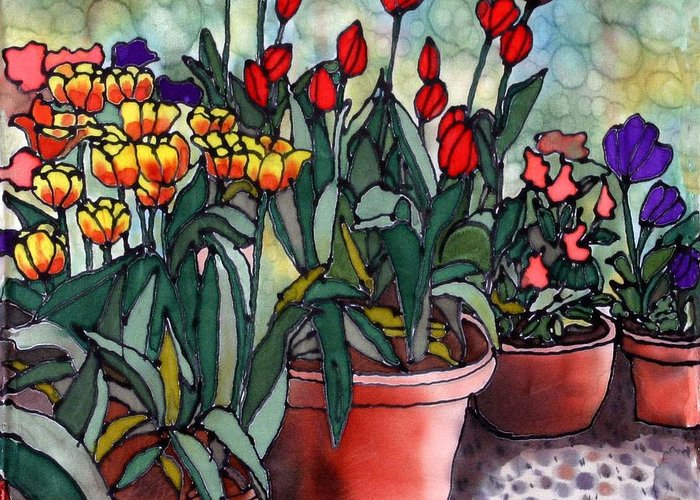 Silk Greeting Card featuring the painting Tulips in Clay Pots by Linda Marcille