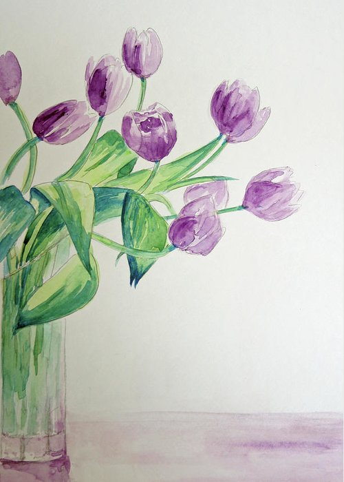 Flowers Greeting Card featuring the painting Tulips In Purple by Julie Lueders