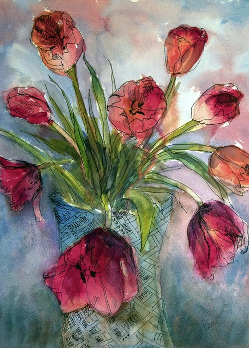 Floral Greeting Card featuring the painting Tulips In Rosie's Vase by Elissa Poma