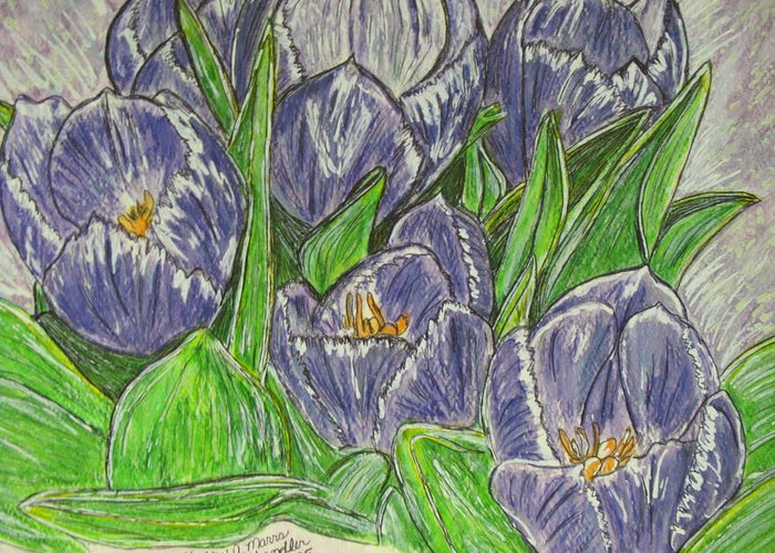 Tulips Greeting Card featuring the painting Tulips in the Spring by Kathy Marrs Chandler