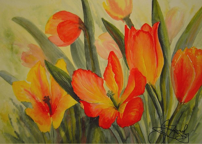 Spring Tulips Greeting Card featuring the painting Tulips by Joanne Smoley