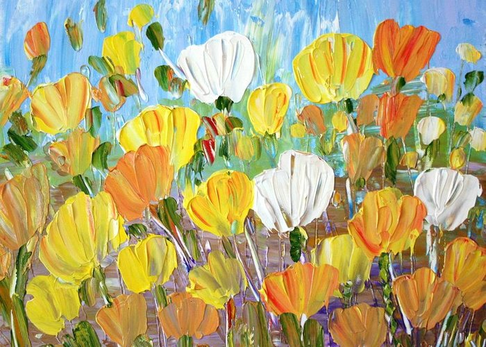Flowers Greeting Card featuring the painting Tulips by Luiza Vizoli