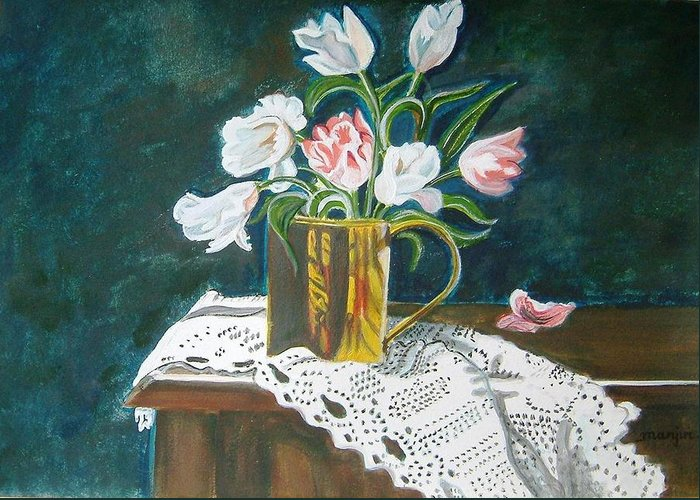 Tulips Greeting Card featuring the painting Tulips by Manjiri Kanvinde