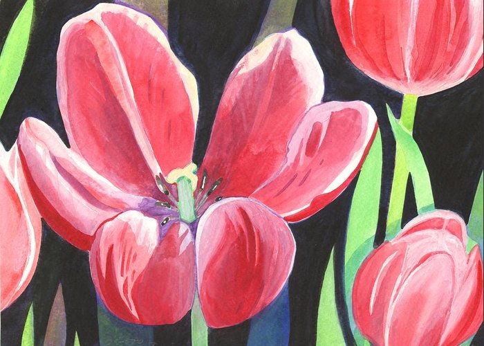 Flower Greeting Card featuring the painting Tulips On Black by Helena Tiainen