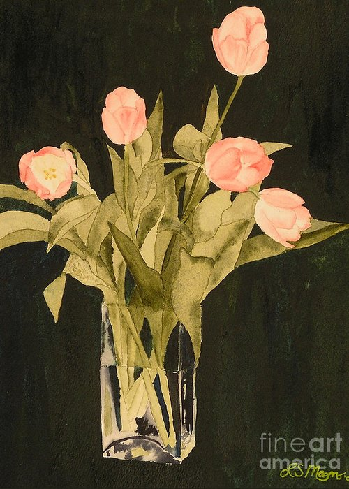 Tulips Greeting Card featuring the painting Tulips On Velvet by Louise Magno