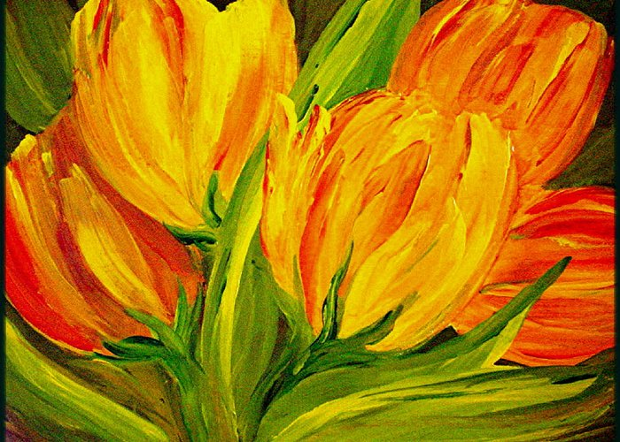 Flower Greeting Card featuring the painting Tulips Parrot Yellow Orange by Carol Nelissen