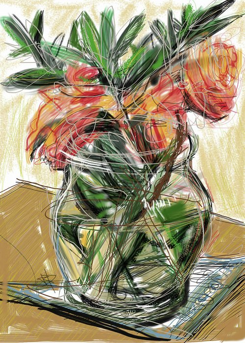 Tulips Greeting Card featuring the mixed media Tulips by Russell Pierce