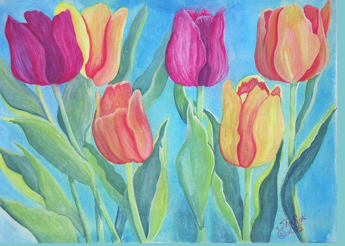 Floral Greeting Card featuring the painting Tulips by SheRok Williams
