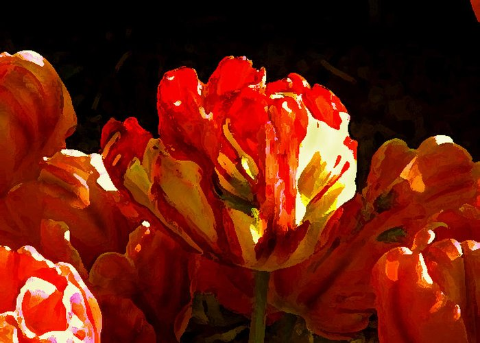 Flowers Tulips Greeting Card featuring the photograph Tulips by Valerie Moore