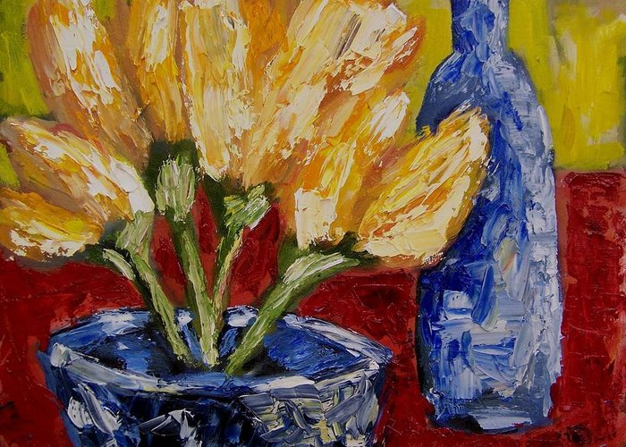 Flowers Greeting Card featuring the painting Tulips With Blue Bottle by Windi Rosson