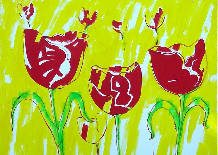Tulpen Greeting Card featuring the painting Tulpen 67 by Hans Van Weeren
