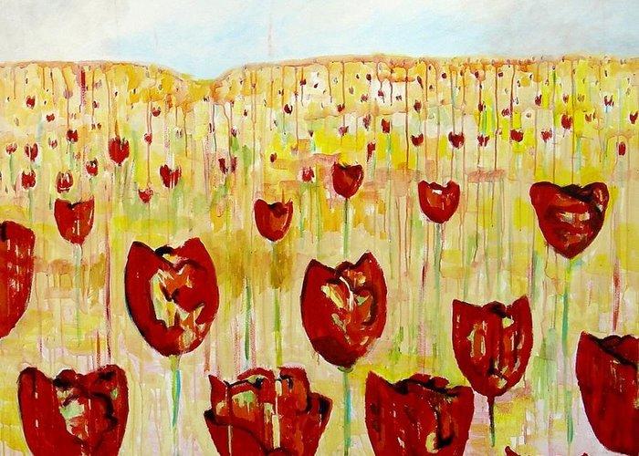 Tulpen Greeting Card featuring the painting Tulpen 74 by Hans Van Weeren