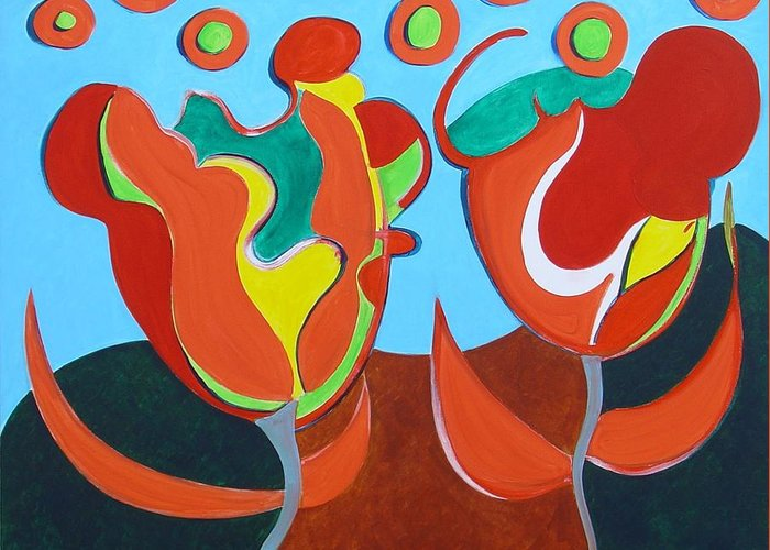 Tulips Greeting Card featuring the painting Tulpen 77 by Hans Van Weeren