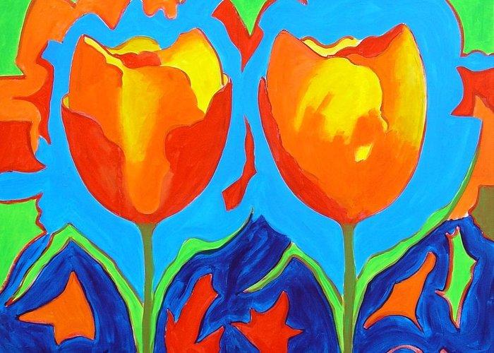 Tulips Greeting Card featuring the painting Tulpen 80 by Hans Van Weeren