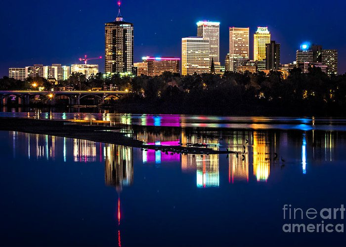 Tulsa Greeting Card featuring the photograph Tulsa Skyline At Twilight by Tamyra Ayles