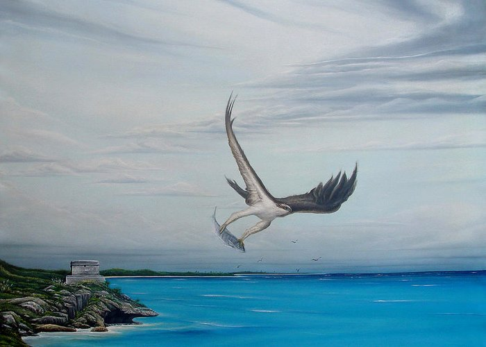 Seascape Greeting Card featuring the painting Tulum by Angel Ortiz