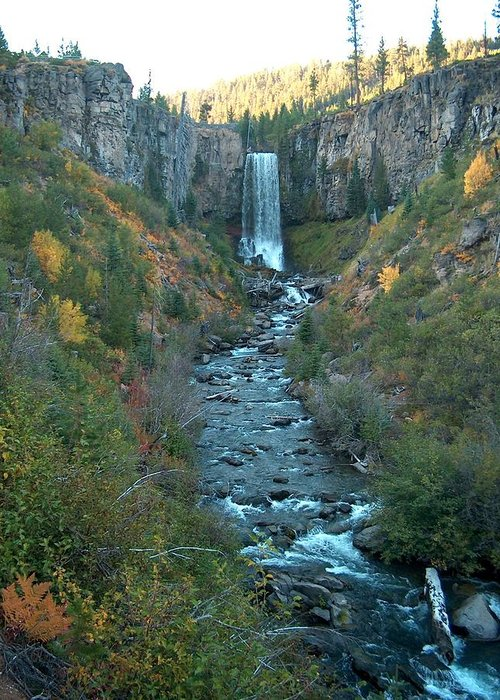 Waterfall Greeting Card featuring the photograph Tumalo Falls by Janet Hall