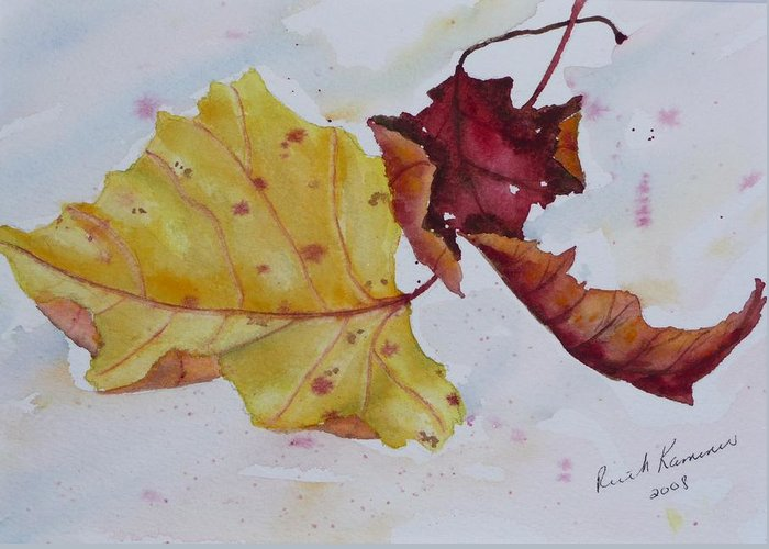 Fall Greeting Card featuring the painting Tumbling by Ruth Kamenev