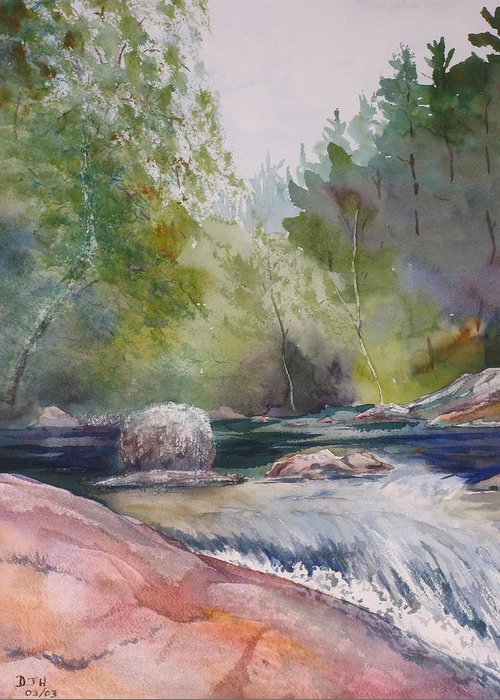 Water Greeting Card featuring the painting Tumbling Waters by Debbie Homewood