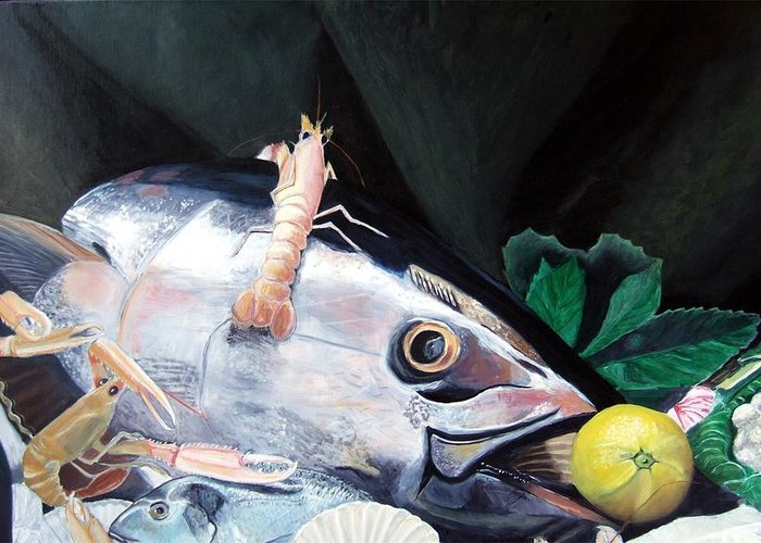 Still Life Greeting Card featuring the painting Tuna Head in Venice by Michael Henderson