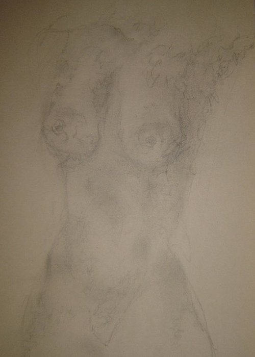 Female Nude Greeting Card featuring the drawing Tune by Dean Corbin