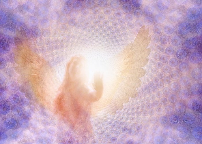 Angel Greeting Card featuring the painting Tunel Of Light by Robby Donaghey