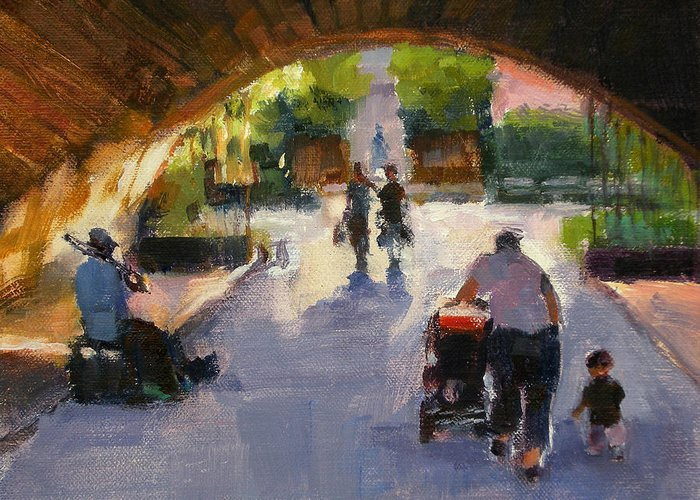 Urban Landscape Greeting Card featuring the painting Tunnel In Central Park by Merle Keller