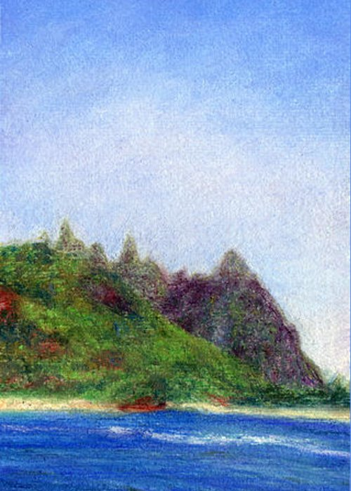 Rainbow Colors Pastel Greeting Card featuring the painting Tunnels Beach View by Kenneth Grzesik