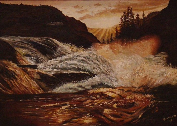 Water Greeting Card featuring the painting Turbulent Waters by Quwatha Valentine