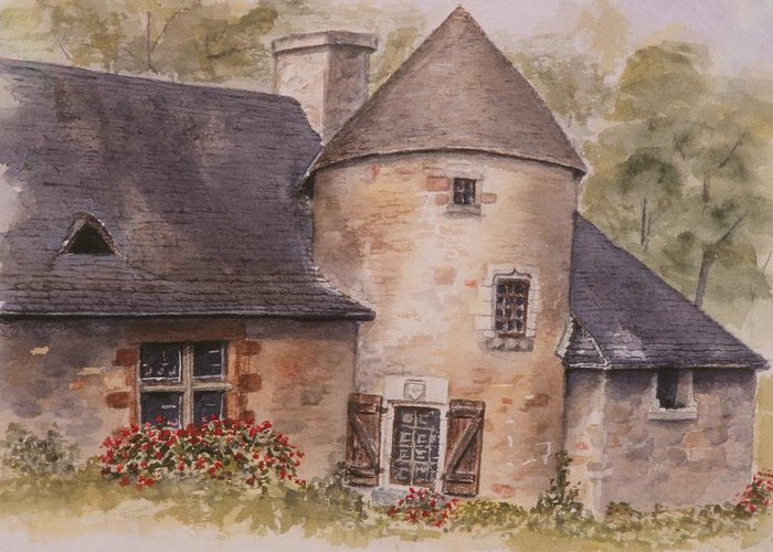Watercolor Greeting Card featuring the painting Turenne by Mary Ellen Mueller Legault