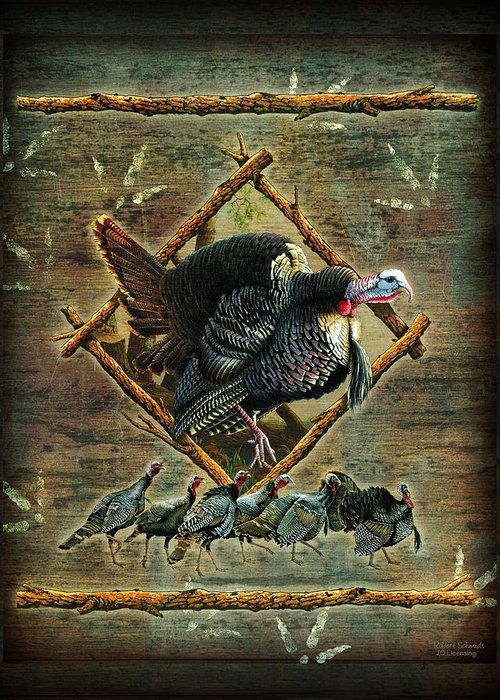 Wildlife Greeting Card featuring the painting Turkey Lodge by JQ Licensing