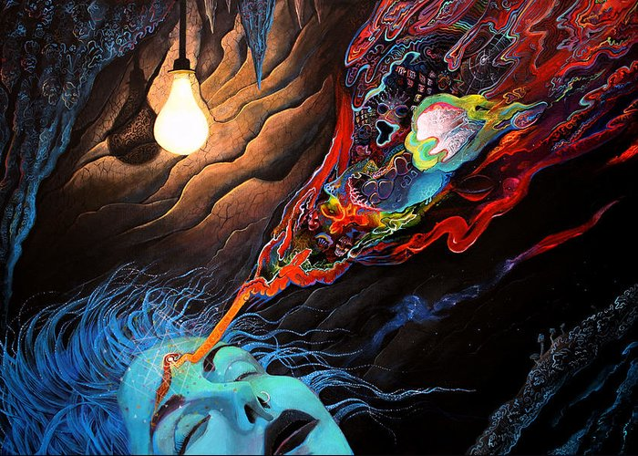 Consciousness Greeting Card featuring the painting Turn The Light On by Steve Griffith