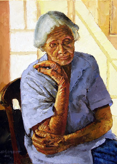 Old Woman Greeting Card featuring the painting Turning Inward by John Lautermilch