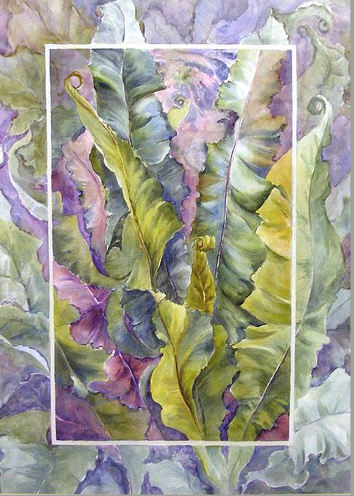 Ferns;floral; Greeting Card featuring the painting Turns Of Ferns by Lois Mountz