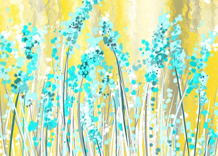 Turquoise And Blue Abstracts Greeting Cards