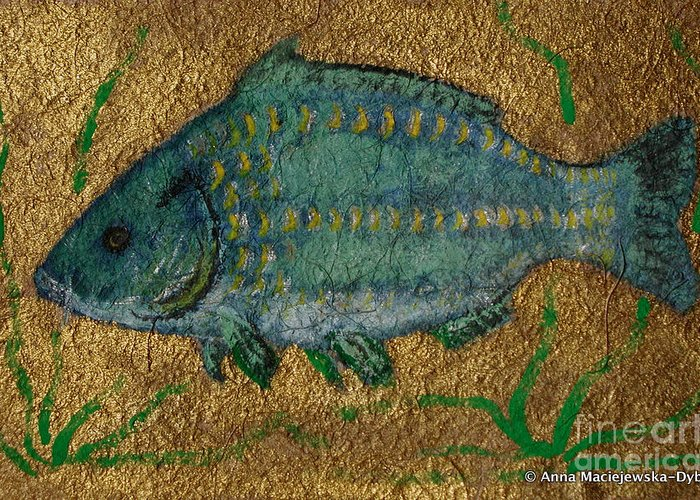 Folkartanna Greeting Card featuring the painting Turquoise Carp by Anna Folkartanna Maciejewska-Dyba