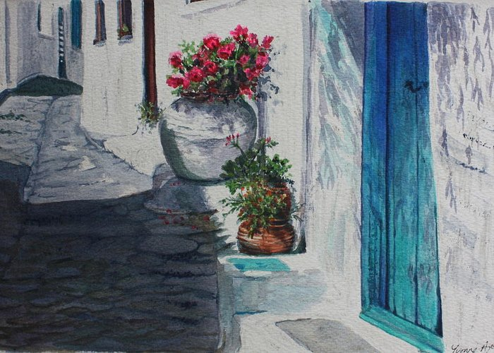 Door Greeting Card featuring the painting Turquoise Door by Yvonne Ayoub