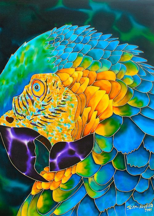 Parrot Painting Greeting Card featuring the painting Turquoise Gold Macaw by Daniel Jean-Baptiste
