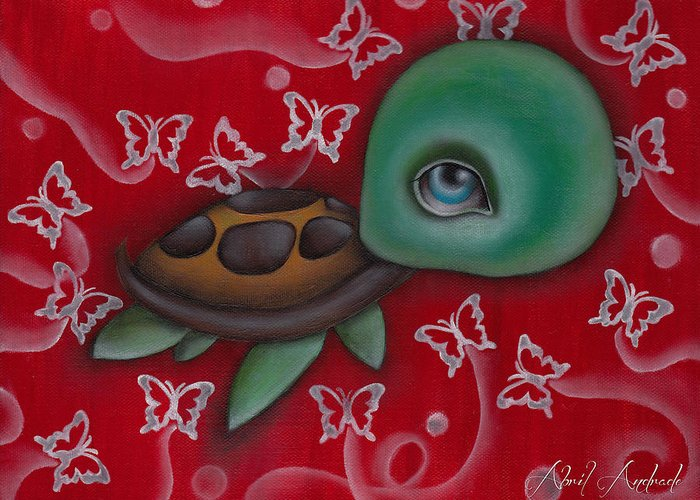 Animal Greeting Card featuring the painting Turtle by Abril Andrade Griffith
