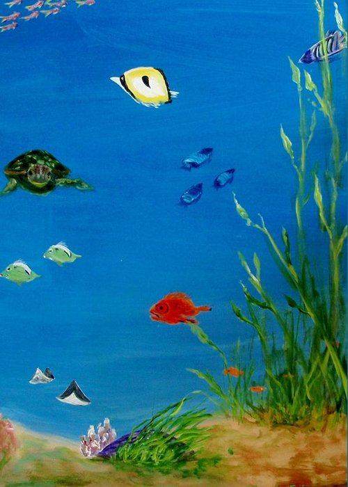 Water Greeting Card featuring the painting Turtle And Friends by Jamie Frier