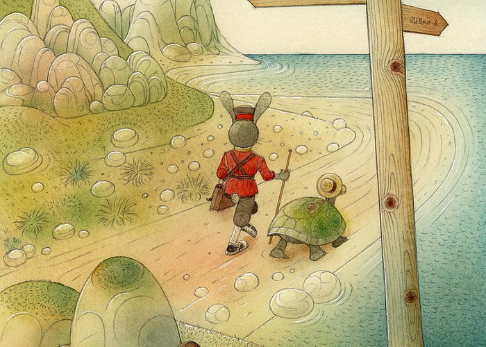 Sea Sky Green Blue Stones Rocks Turtle Rabbit Landscape Greeting Card featuring the painting Turtle And Rabbit07 by Kestutis Kasparavicius
