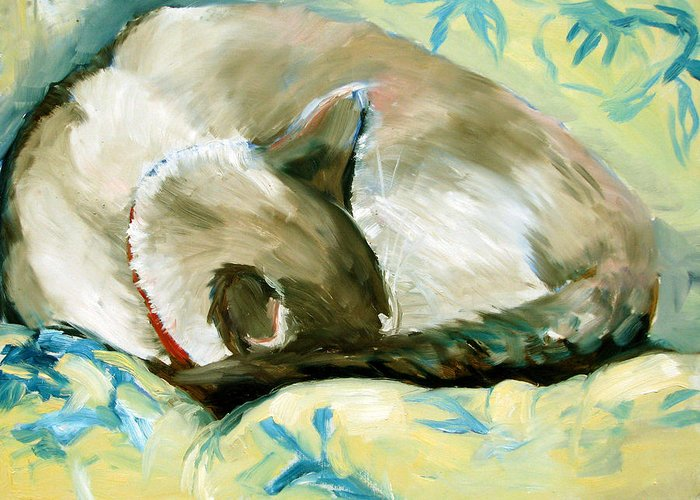 Cat Greeting Card featuring the painting Turtle by Art Nomad Sandra Hansen