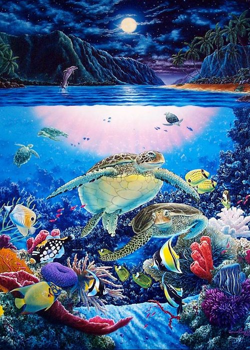 Dolphins Greeting Card featuring the painting Turtle Bay by Daniel Bergren