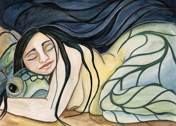 Woman Greeting Card featuring the painting Turtle Daughter by Kimberly Kirk