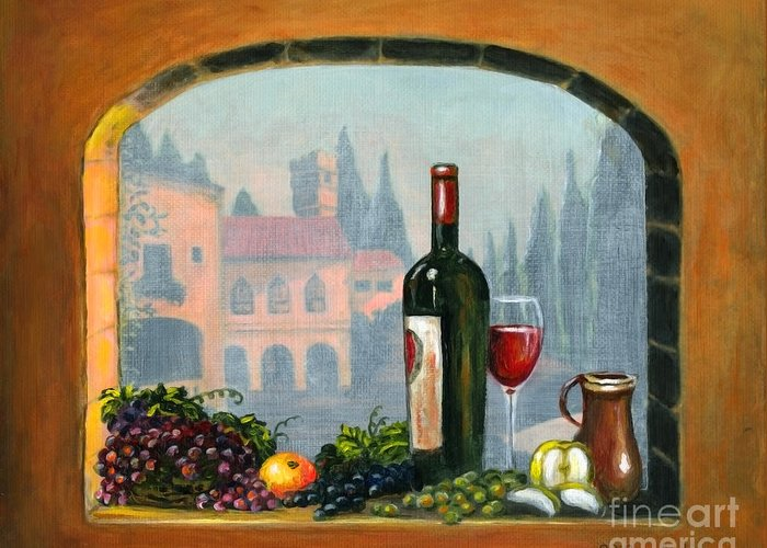 Angelica Dichiara Greeting Card featuring the painting Tuscan Arch Wine Grape Feast by Italian Art