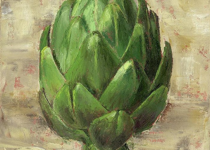 Tuscan Greeting Card featuring the painting Tuscan Artichoke by Pam Talley