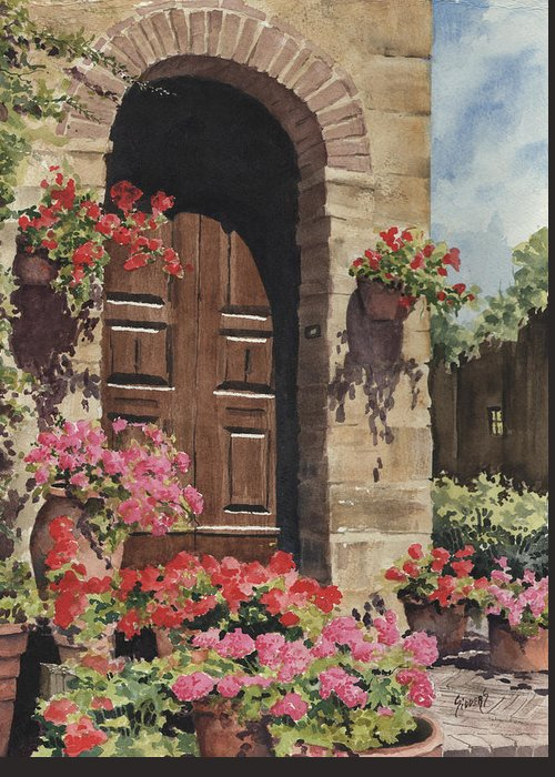 Flowers Greeting Card featuring the painting Tuscan Door by Sam Sidders
